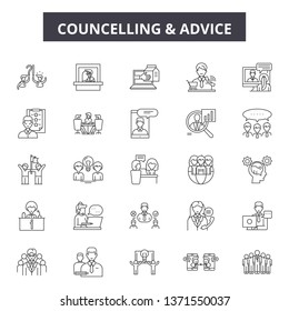 Councelling line icons, signs set, vector. Councelling outline concept, illustration: man,people,councelling,person,couple,woman,hug