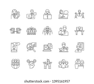 Councelling line icons, signs, vector set, outline illustration concept