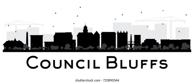 Council Bluffs skyline black and white silhouette. Vector illustration. Simple flat concept for tourism presentation, banner, placard or web site. Cityscape with landmarks.