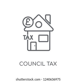 Council tax linear icon. Modern outline Council tax logo concept on white background from business collection. Suitable for use on web apps, mobile apps and print media.