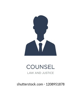 counsel icon. Trendy flat vector counsel icon on white background from law and justice collection, vector illustration can be use for web and mobile, eps10