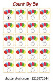 count by 5s practice worksheet, write the missing numbers, fun activity