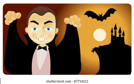 Count Dracula and his castle on a scary night