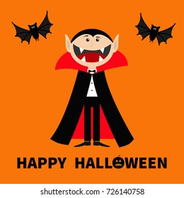 Count Dracula wearing black and red cape. Cute cartoon vampire character with big open mouth, tongue and fangs Two flying bat animal. Happy Halloween. Flat design Orange background Vector illustration
