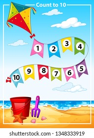 Count number summer beach template illustration