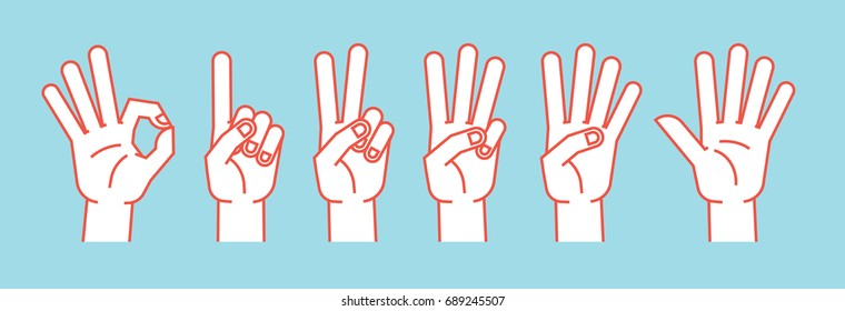 Count on fingers. Gesture. Stylized hands showing different numbers. Icons. Vector illustration on a blue background. Zero, one, two, three, four, five. Orange lines and white silhouette. Logo. Signs.