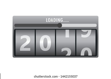Countdown calendar,loading process with year 2019 and 2020. Happy New Year concept. Year scoreboard,vector illustration