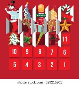 Countdown to Christmas Advent Calendar. Day 12. EPS 10 vector.