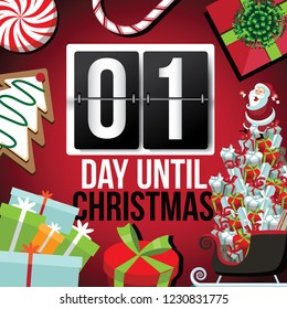 Countdown to Christmas flip number advent calendar with flat lay Christmas items. EPS 10 vector illustration. Day 1.