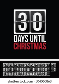 Countdown to Christmas flip numbers template with numbers 01 through 30. EPS 10 vector.