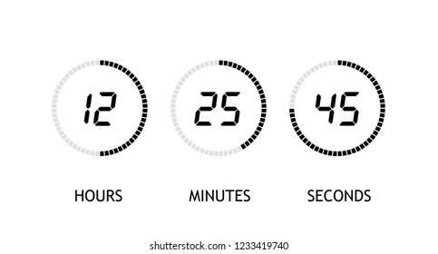 Countdown clock counter timer. Digital timer, stopwatch vector icon, clock and watch, timer, countdown symbol - stock vector.