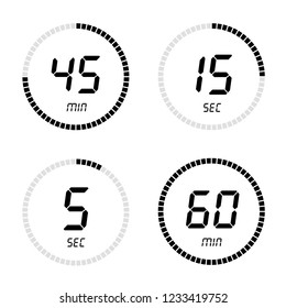 Countdown clock counter timer. Set digital timer, stopwatch vector icon, clock and watch, timer, countdown symbol on white isolated background - stock vector.