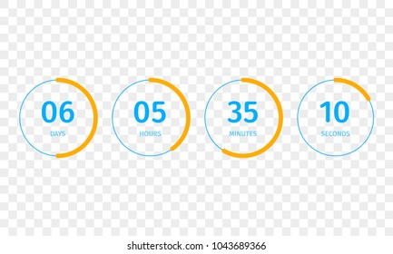 Countdown clock counter timer. Vector digital count down meter circle board with circle time pie diagram. Scoreboard of day, hour, minutes and seconds for template design on transparent background
