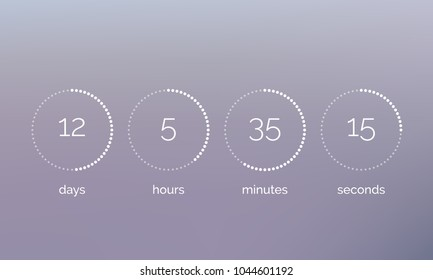 Countdown clock counter timer. Vector digital count down circle board with circle time pie diagram. Scoreboard of day, hour, minutes and seconds for web page upcoming event template design.