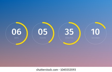 Countdown clock counter timer. Vector digital count down meter circle board with circle time pie diagram. Scoreboard of day, hour, minutes and seconds for user interface web page template design.