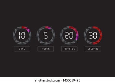 Countdown clock counter timer. Vector digital count down circle board with circle time pie diagram.
