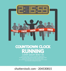 Countdown Clock At Finish Line Vector Illustration
