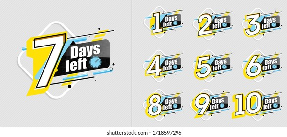 Countdown day. Sale countdown label set with limited time badge. Promotion banner count down days to go. Announcement badge with timer day left. Count time sale banner. Number days left countdown