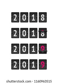 Countdown flip timer 2018 to 2019 for New Year design realistic vector illustration