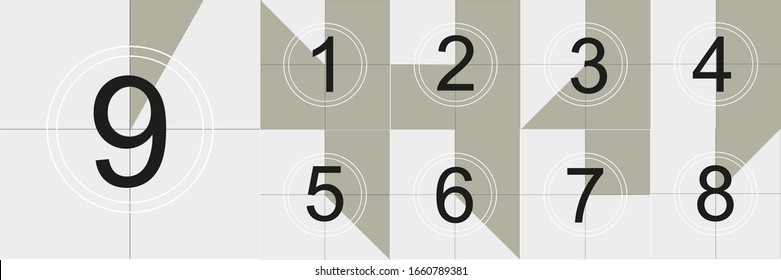 Countdown frame illustration of Old film movie timer count creative vector. Vintage retro cinema. Abstract concept graphic element. Art design.