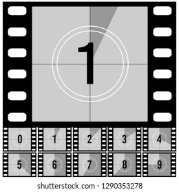 Countdown frames. Retro film movie timer universal counter with numbers. Vector set