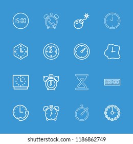 Countdown icon. collection of 16 countdown outline icons such as clock alarm, bomb, clock, alarm, stopwatch. editable countdown icons for web and mobile.