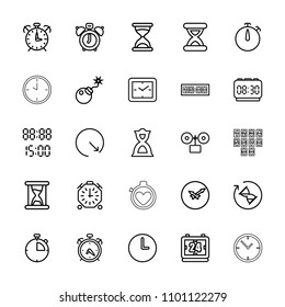 Countdown icon. collection of 25 countdown outline icons such as alarm, hourglass, clock alarm, clock, bomb, digital time. editable countdown icons for web and mobile.