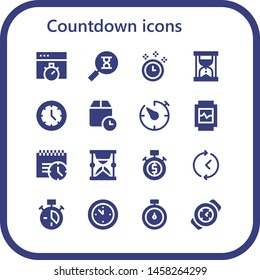 countdown icon set. 16 filled countdown icons.  Collection Of - Chronometer, Sandclock, Time, Hourglass, Watch, Wait time, Timer, Deadline, Stopwatch, Clock, Wall clock