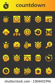 countdown icon set. 26 filled countdown icons.  Collection Of - Time, Stopwatch, Clock, Alarma clock, Deadline, History, Hourglass, Stop watch, Stopclock, Timer, Sandclock, Chronometer