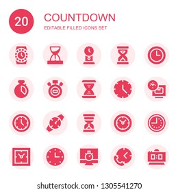 countdown icon set. Collection of 20 filled countdown icons included Watch, Hourglass, Clock, Sandclock, Wall clock, Chronometer, Stopwatch, Time, Clocks, Digital clock