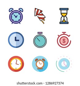 countdown icon set. vector set about hourglass, stopwatch, clock and firework icons set.