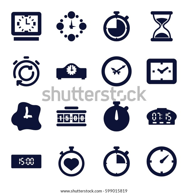 countdown icons set. Set of 16 countdown filled icons such as hourglass, stopwatch, clock, wall clock