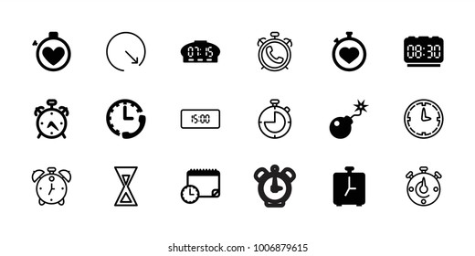 Countdown icons. set of 18 editable filled and outline countdown icons: alarm, stopwatch, bomb, calendar with clock, digital clock