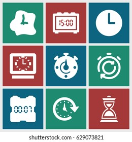 Countdown icons set. set of 9 countdown filled icons such as hourglass, time, wall clock, digital clock, clock