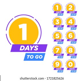 Countdown left days banner. From one to ten. Vector illustration eps 10