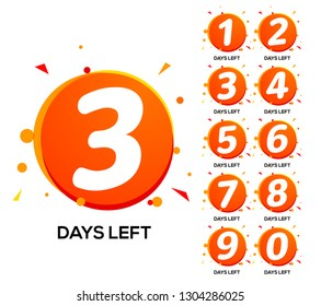 Countdown left days. One two three day left number, count time sale week banner.