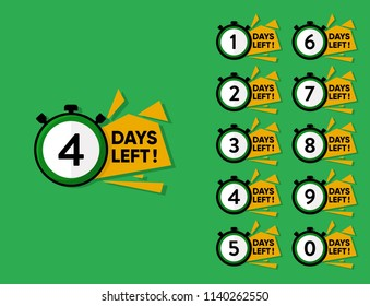 countdown Number of days left badge can be use for promotion and for sale, colorful number days left label vector logo template