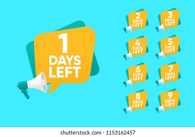 countdown Number of days left badge wiith megaphone can be use for promotion and for sale, colorful number days left label vector logo template