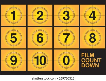 Countdown on film screen on yellow background. Vector illustration.