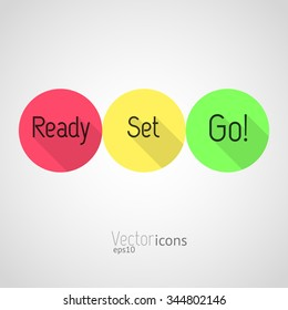 Countdown - Ready, Set, Go! Colorful vector icons. Flat style design with long shadows.