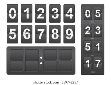 Countdown timer. Black mechanical scoreboard panel illustration on white background for design
