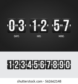 Countdown timer. Clock counter. Mechanical scoreboard. Vector template for your design.