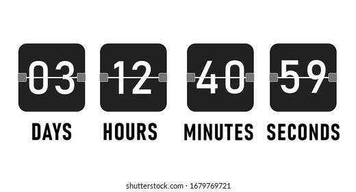 Countdown timer, clock counter vector isolated illustration. Flat countdoun clock.
