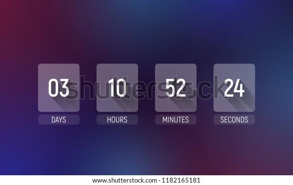 Countdown Timer Clock Counter Vector Template Stock Vector