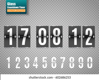 Countdown timer isolated on transparent background. Mechanical clock. Vector template