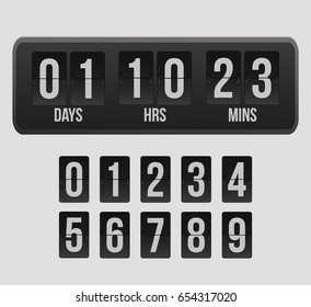 Countdown timer, a mechanical scoreboard blank and various numerals. Vector illustration
