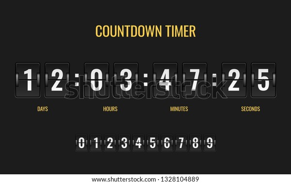 Countdown Timer Meter Scoreboard Digital Watch Stock Vector
