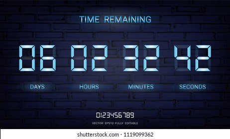 Countdown timer remaining or Clock counter scoreboard with days, hours, minutes and seconds display, Neon glow on a dark background for web page coming soon or under construction (Vector EPS10)