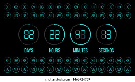 Countdown timer. Scoreboard of days hours minutes seconds. Digital vector clock.