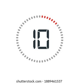 Countdown timer with ten seconds or minutes in modern style. Isolated on a white background